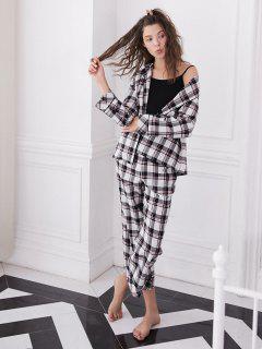 Long Sleeve Checked Pajama Set - Black M