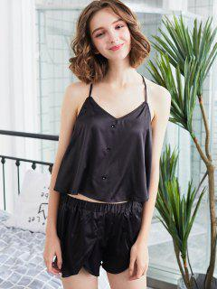 Lace-detail Cami Pajama Set - Black L