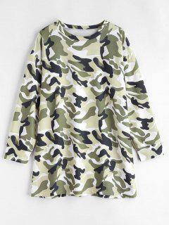 Long Sleeve Camouflage Tee Dress - Multi L