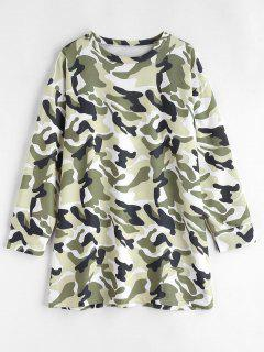 Long Sleeve Camouflage Tee Dress - Multi M