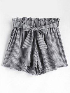 Belted Stripes Shorts - Gray M