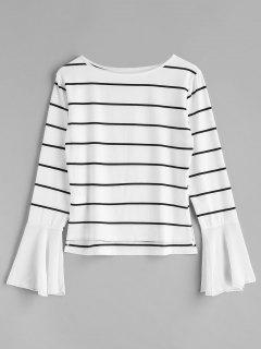 Bell Sleeve Striped Top - White Xl