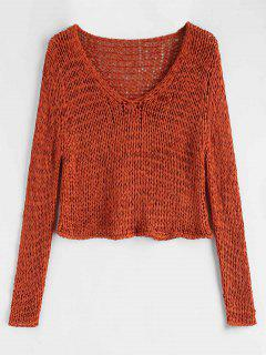 Crochet Chunky Crop Sweater - Papaya Orange