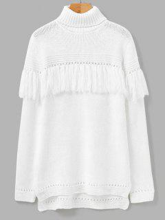 Turtleneck Fringed Sweater - White