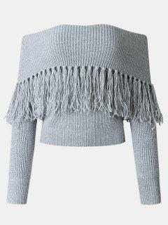 Tassel Off The Shoulder Sweater - Gray Xl