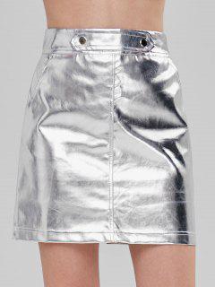 Mini Jupe Métallisée à Taille Haute - Argent Xl