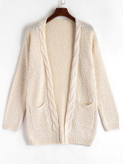 Drop Shoulder Chunky Cardigan - Warm White