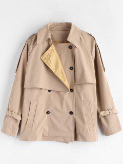 Raglan Sleeve Overlay Trench Coat - Tan S