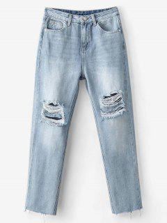 Light Wash Distressed Boyfriend Jeans - Denim Blue S