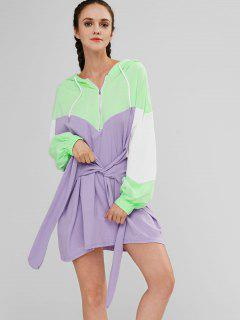 Robe à Capuche Nouée Contrastante à Demi-zip - Multi