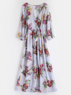 Floral Buttoned Maxi Dress - Lavender Blue M