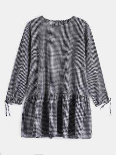 Drop Waist Plaid Dress - Black L