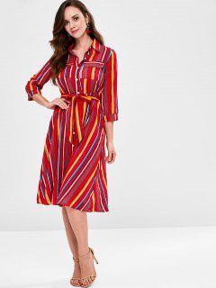 Striped Belt Shirt Dress - Multi S