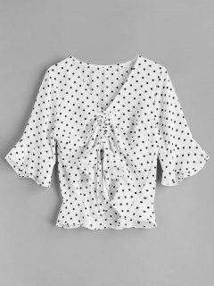 Blusa De Lunares Con Cordón En El Frente - Blanco L