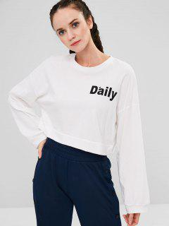 Cropped Graphic Oversized Sweatshirt - White
