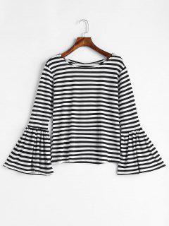 Flare Sleeve Striped T-shirt - Black 2xl