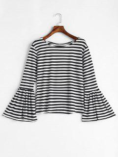 Flare Sleeve Striped T-shirt - Black L