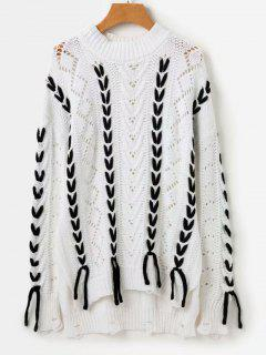 Color Block Crew Neck Sweater - White