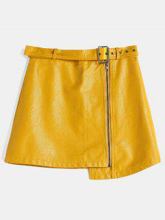 Zippered Faux Leather Skirt - Rubber Ducky Yellow M