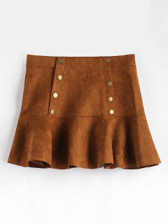 Button Detail Ruffle Hem Suede Skirt - Brown L