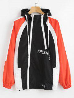 Color Block Letter Hooded Jacket - Black L