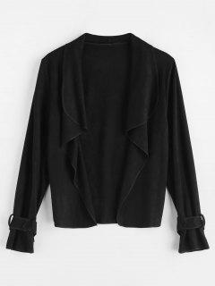 Drape Collar Faux Suede Jacket - Black L