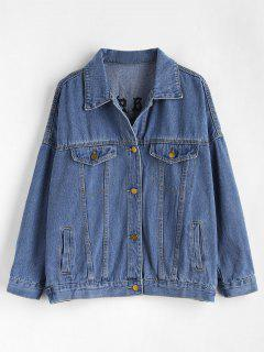 Letter Embroidered Oversized Denim Jacket - Blue S