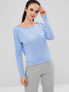 ZAFUL Heather Open Back T-shirt - Butterfly Blue L