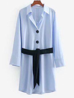 Vestido De Camisa Con Botones Abotonado De Medio Botón - Azul Cristal M