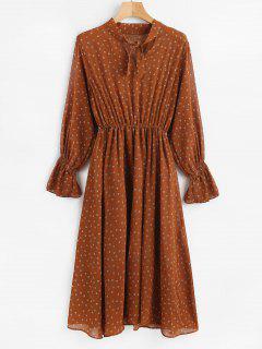 Printed Long Sleeve Midi Dress - Brown S