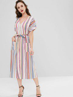 Striped Button Up Casual Dress - Multi L