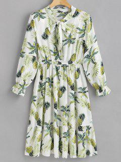 Ananas Langarm A-Linie Kleid - Weiß S