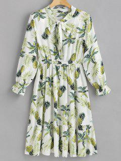 Pineapple Long Sleeve A Line Dress - White L