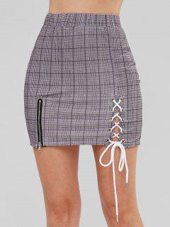Zip Lace-up Plaid Skirt - Multi M