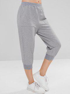 ZAFUL Heather Pocket Crop Jogger Pants - Gray Cloud L