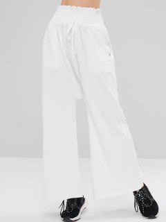 ZAFUL Shirred Drawstring Wide Leg Pants - Milk White S