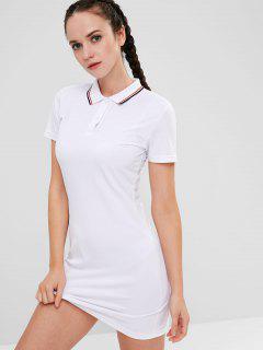 ZAFUL Polo Collar Mini Athletic Dress - White S