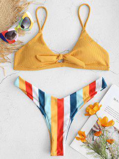 ZAFUL - Bikinihose Mit Geripptem Regenbogen Und Hohem Bein - Biene Gelb L