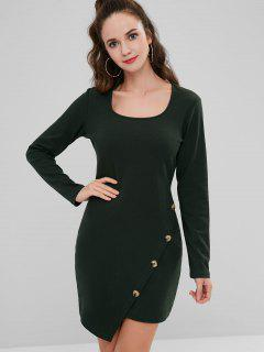 Side Buttoned Ribbed Mini Dress - Dark Forest Green L