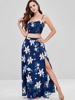 ZAFUL Lace Up Floral Slit Skirt Set - Deep Blue L