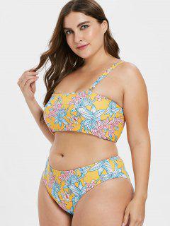 ZAFUL Flower - Hoch Tailliertes Bikini-Set In Übergröße - Helles Gelb L
