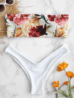 ZAFUL Bandeau Sidebin Floral Bikini Set - Weiß L