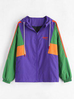Color Block Hooded Jacket - Purple