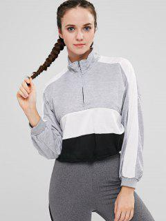 Zip Front Color Block Sweatshirt - Multi Xl