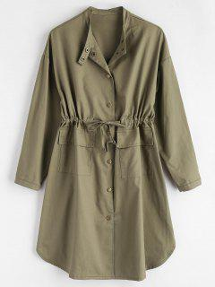 Longline Front Pockets Coat - Army Green S
