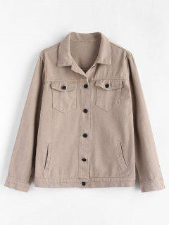 Button Up Zip Embellished Shirt Jacket - Light Khaki L
