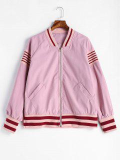 Knit Striped Panel Bomer Jackets - Pig Pink Xl