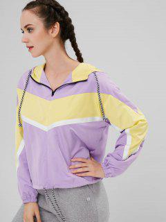 ZAFUL Contrasting Color Hooded Zip Up Jacket - Purple S