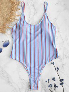 ZAFUL Striped Spaghetti Strap One Piece Swimwear - Denim Blue L