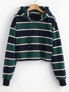 ZAFUL Stripe Crop Hoodie - Multicolor S